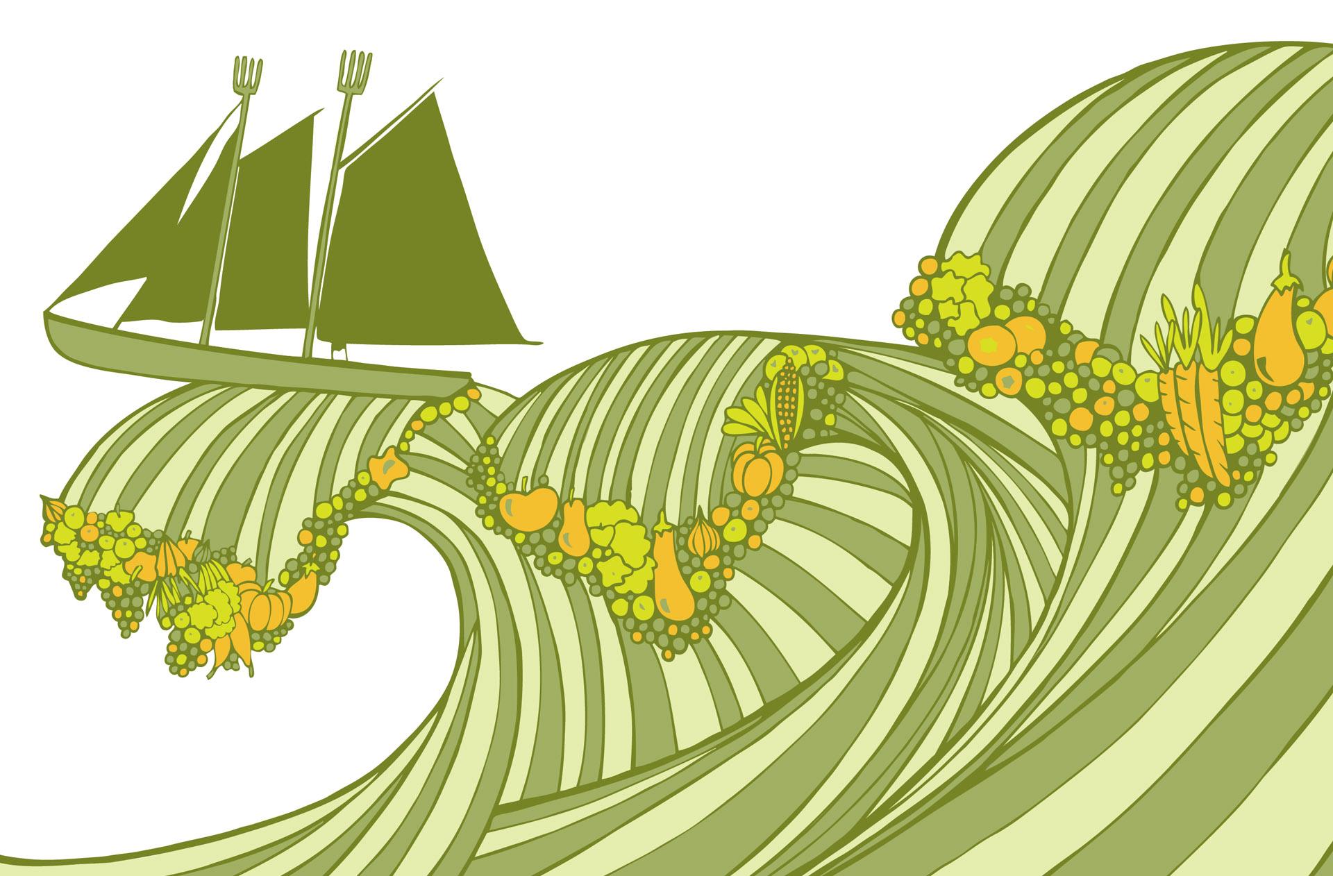 editorial illustration sustainable organic farming