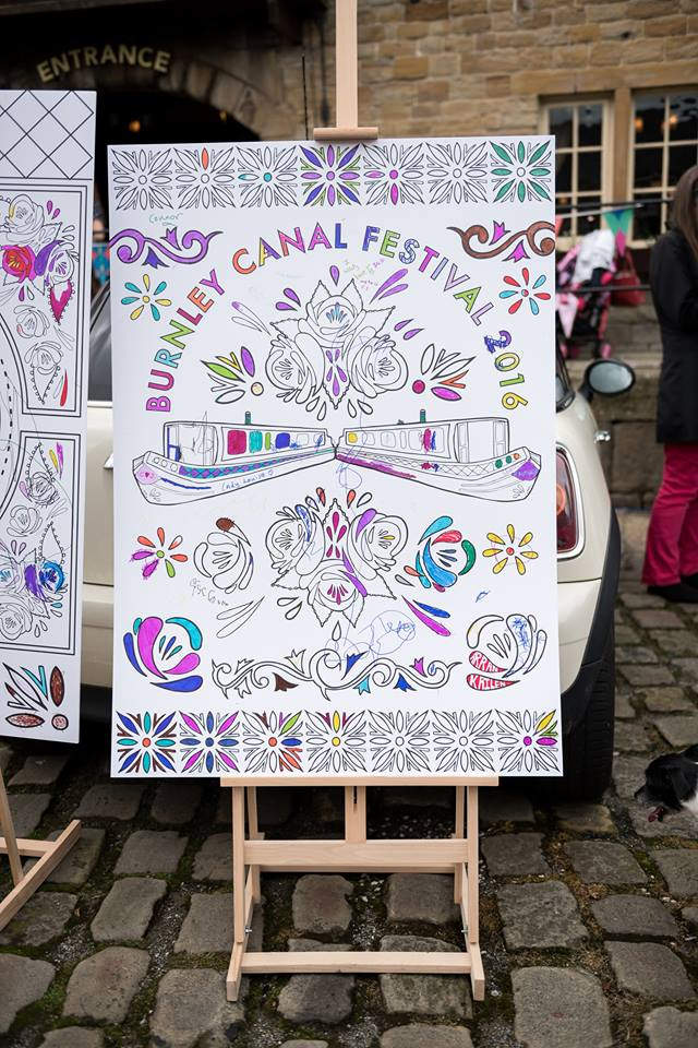 clare corfield carr burnley canal festival colouring in color in large scale illustration drawing art