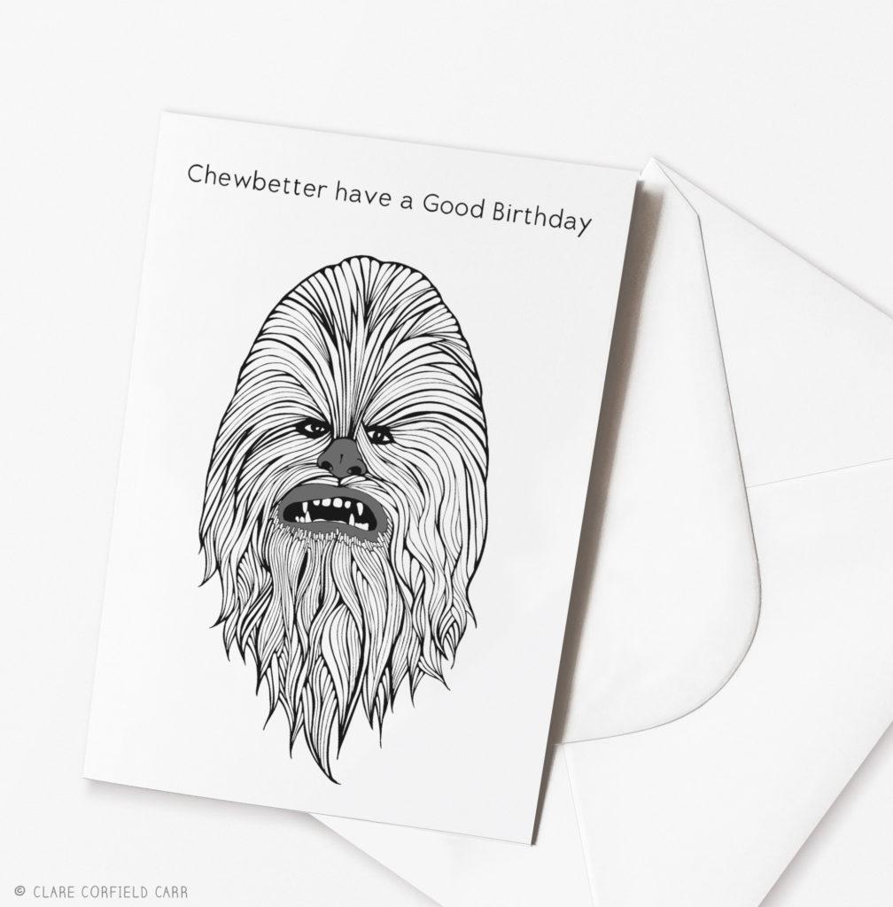 funny star wars birthday card chewbacca illustration drawing