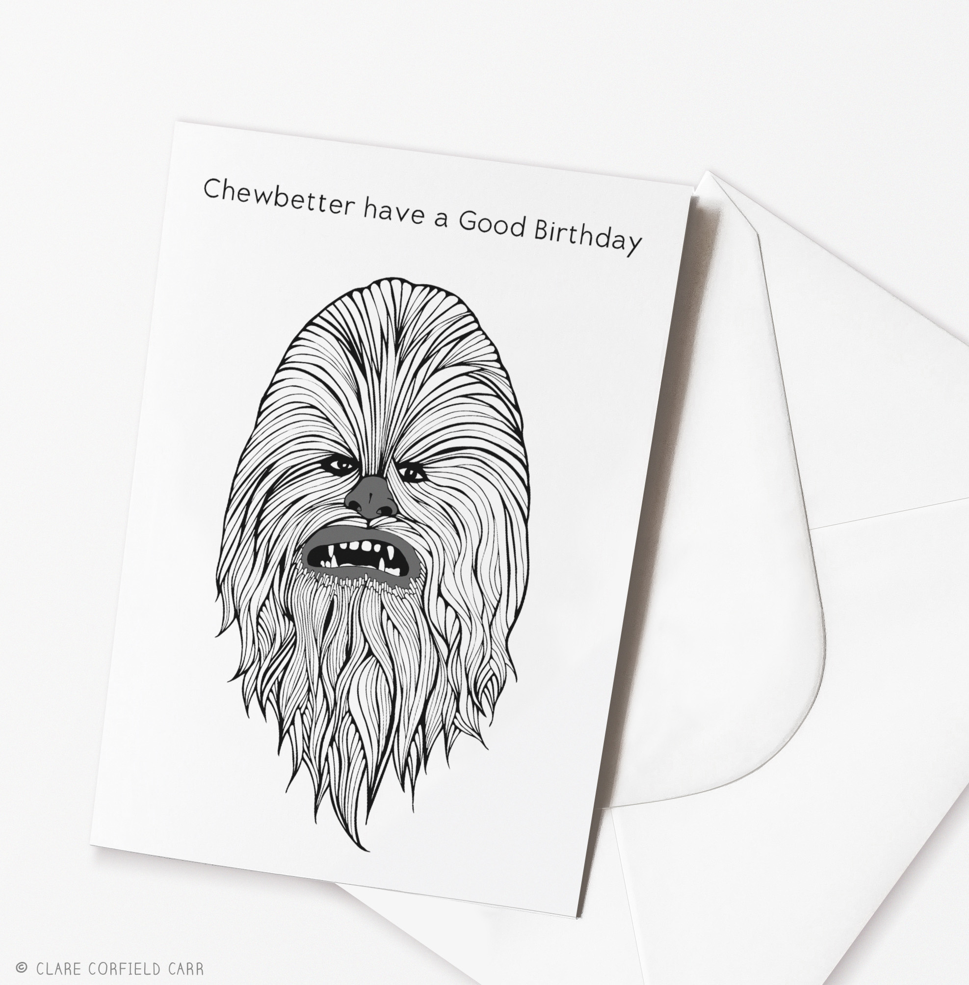 Birthday cards clare corfield carr funny star wars birthday card chewbacca illustration drawing bookmarktalkfo Choice Image