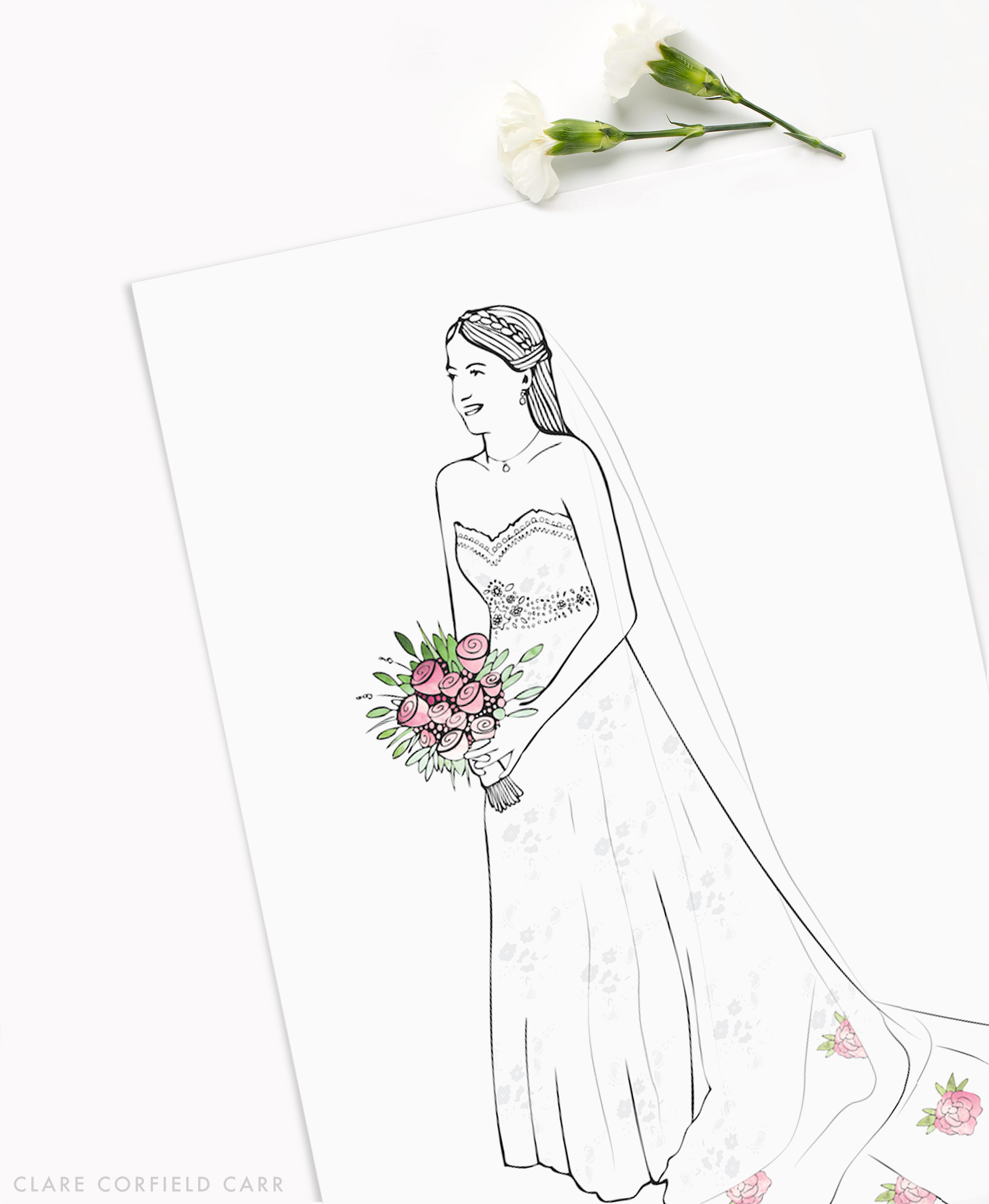 clare corfield carr wedding illustration commission bride drawing