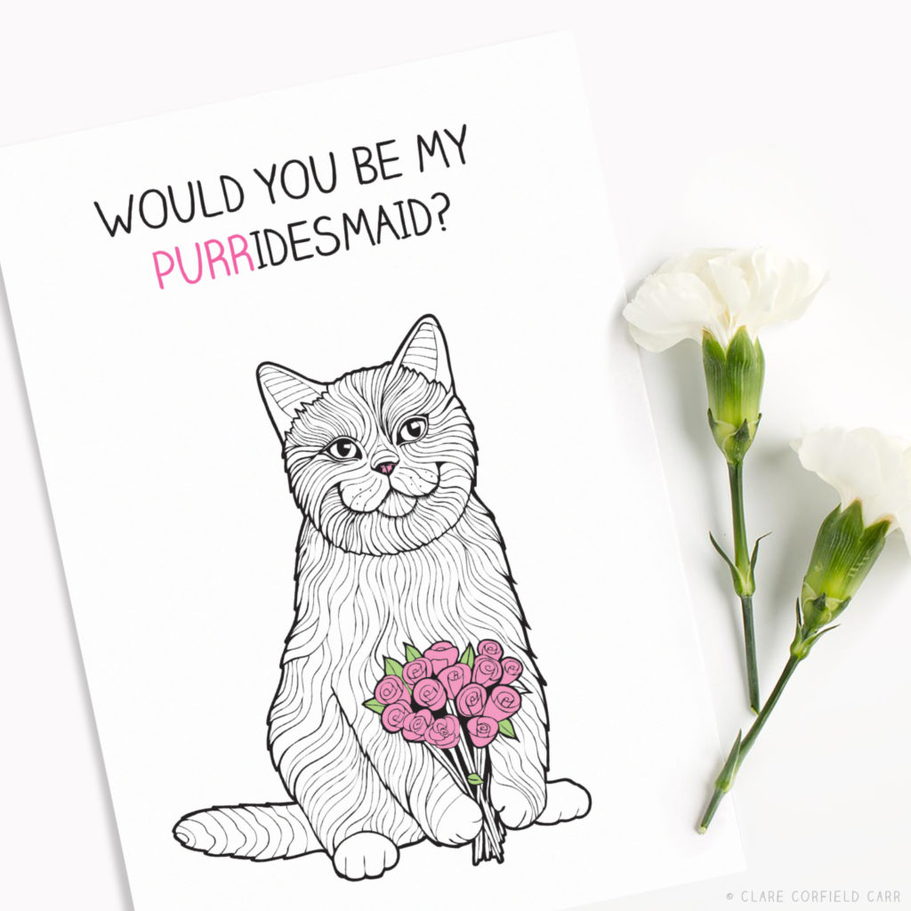funny cat wedding card puns bridesmaid cards
