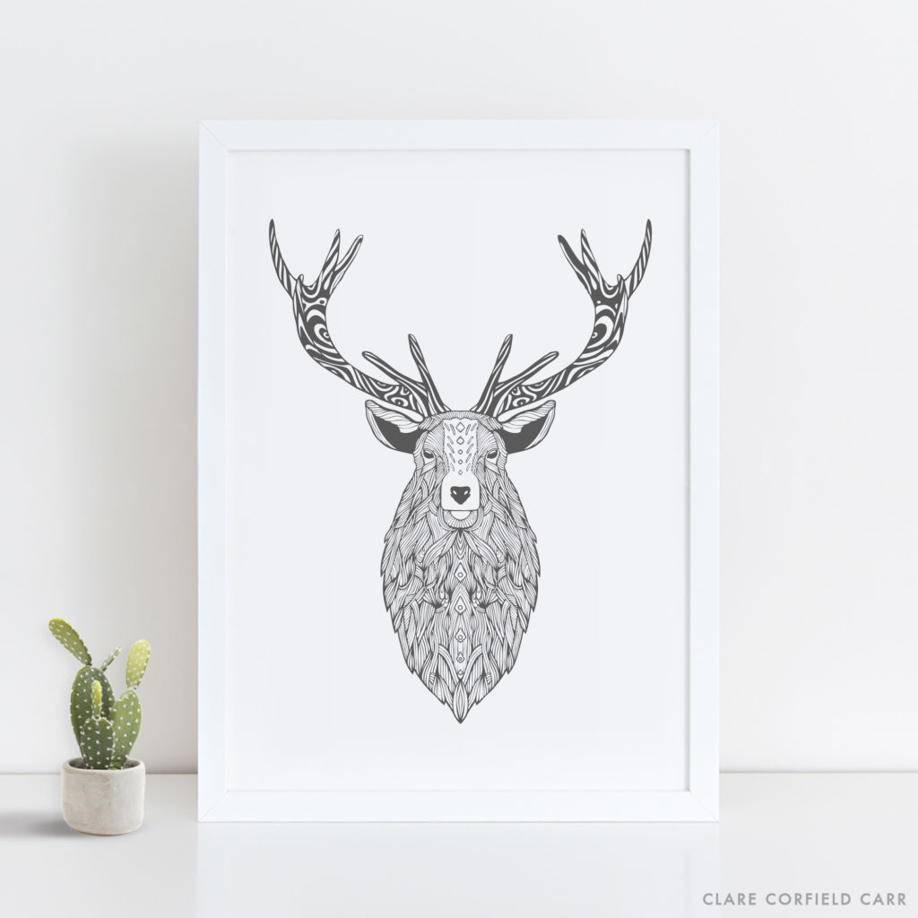 stag illustration outdoors drawing adventure art design