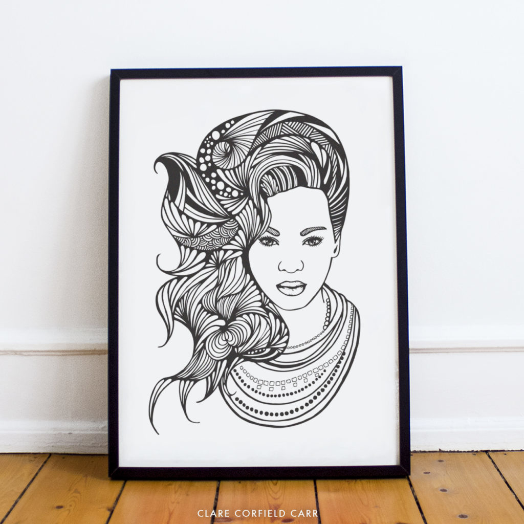 beyonce illustration drawing portrait