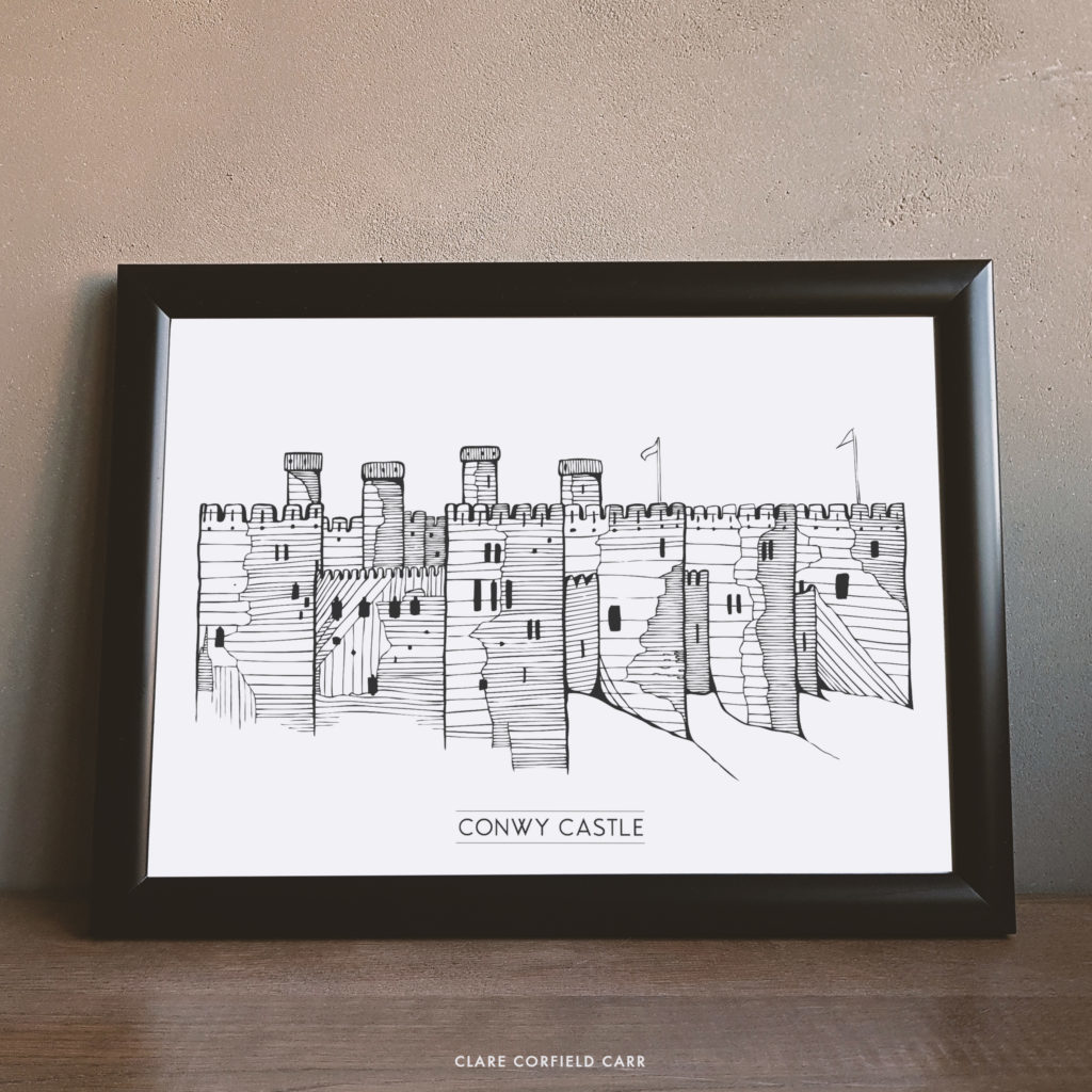conwy castle north wales historical illustration drawing prints