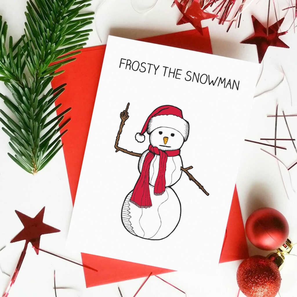 frosty the snowman middle finger rude swearing xmas card