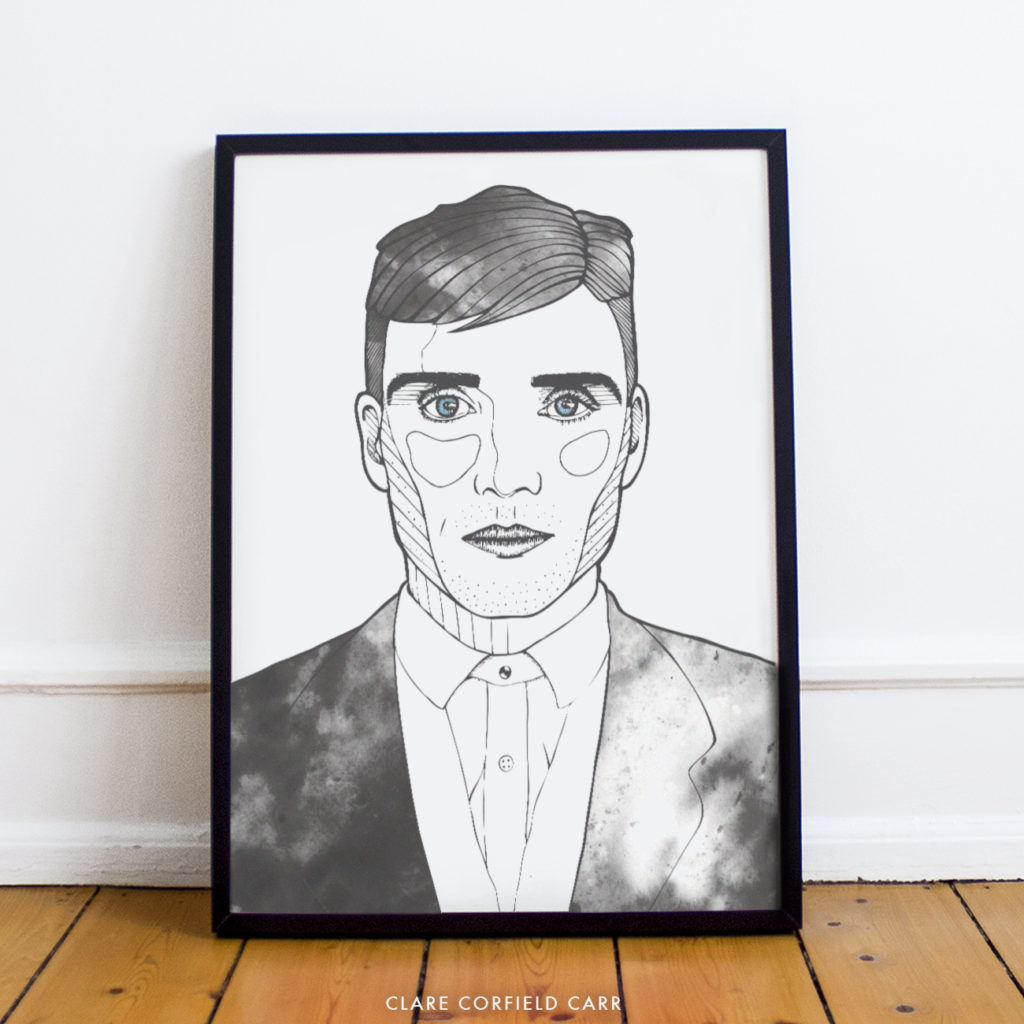 peaky blinders tommy shelby bbc drama illustration drawing portrait