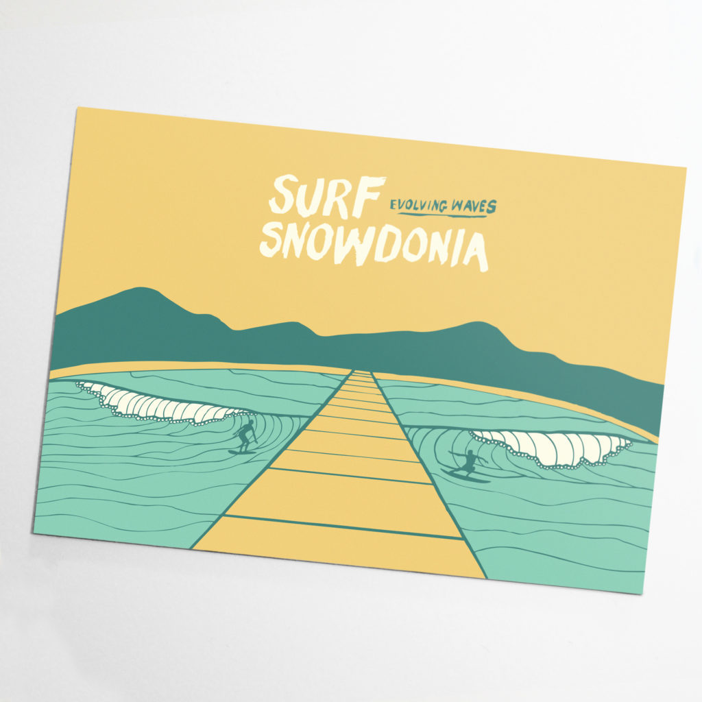 surf snowdonia post card north wales surfing electric wave glamping outdoor adventure