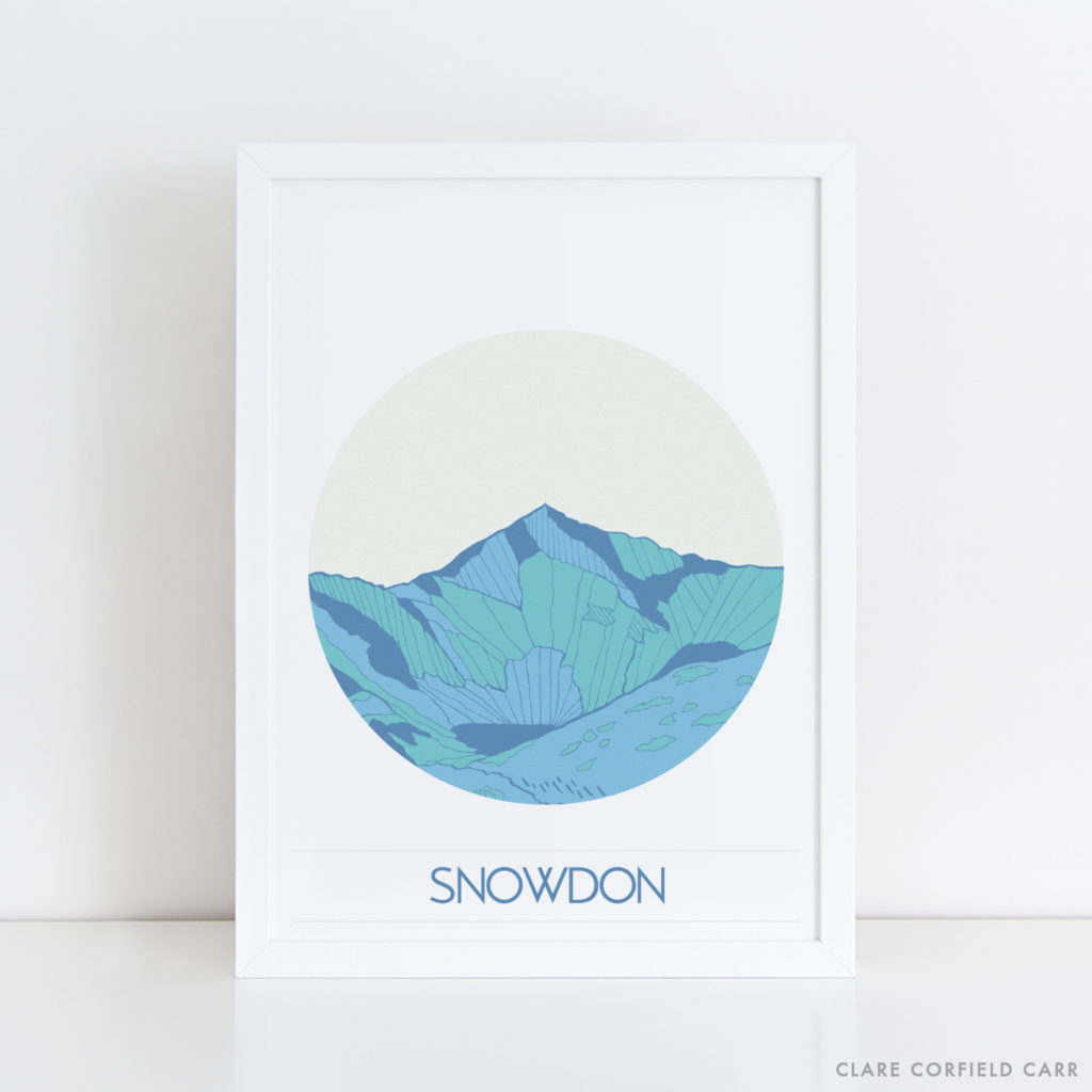 snowdon illustration drawing mountain art north wales