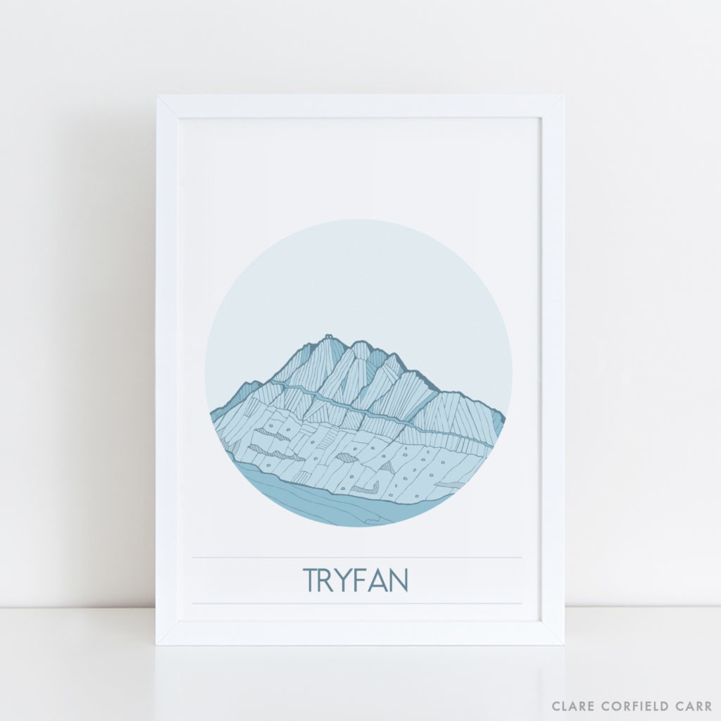 tryfan print art illustration drawing north wales mountain
